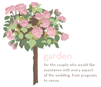 Garden package is for the couple who would like assistance with every aspect of the wedding from programs to venue